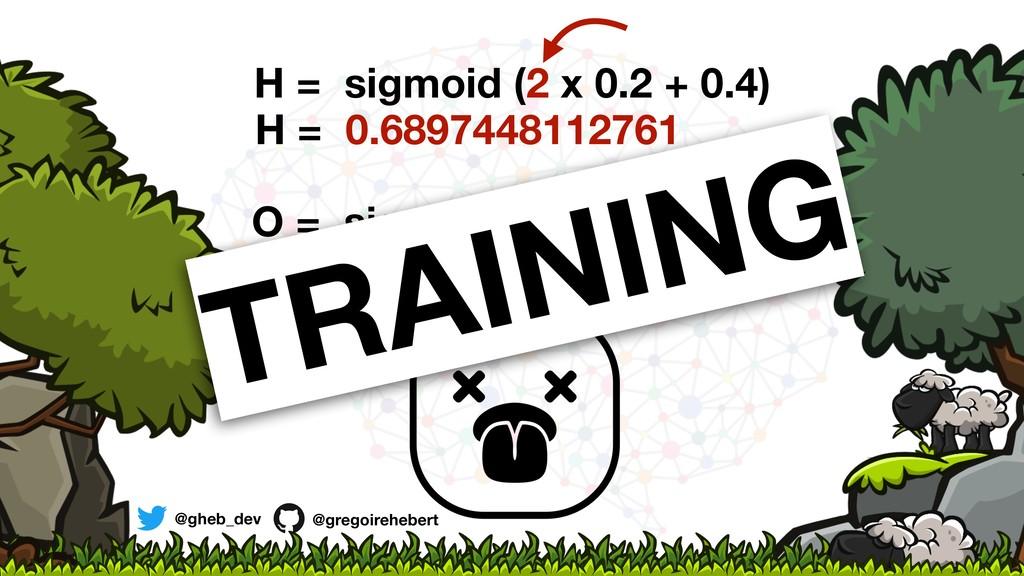 H = sigmoid (2 x 0.2 + 0.4) H = 0.6897448112761...