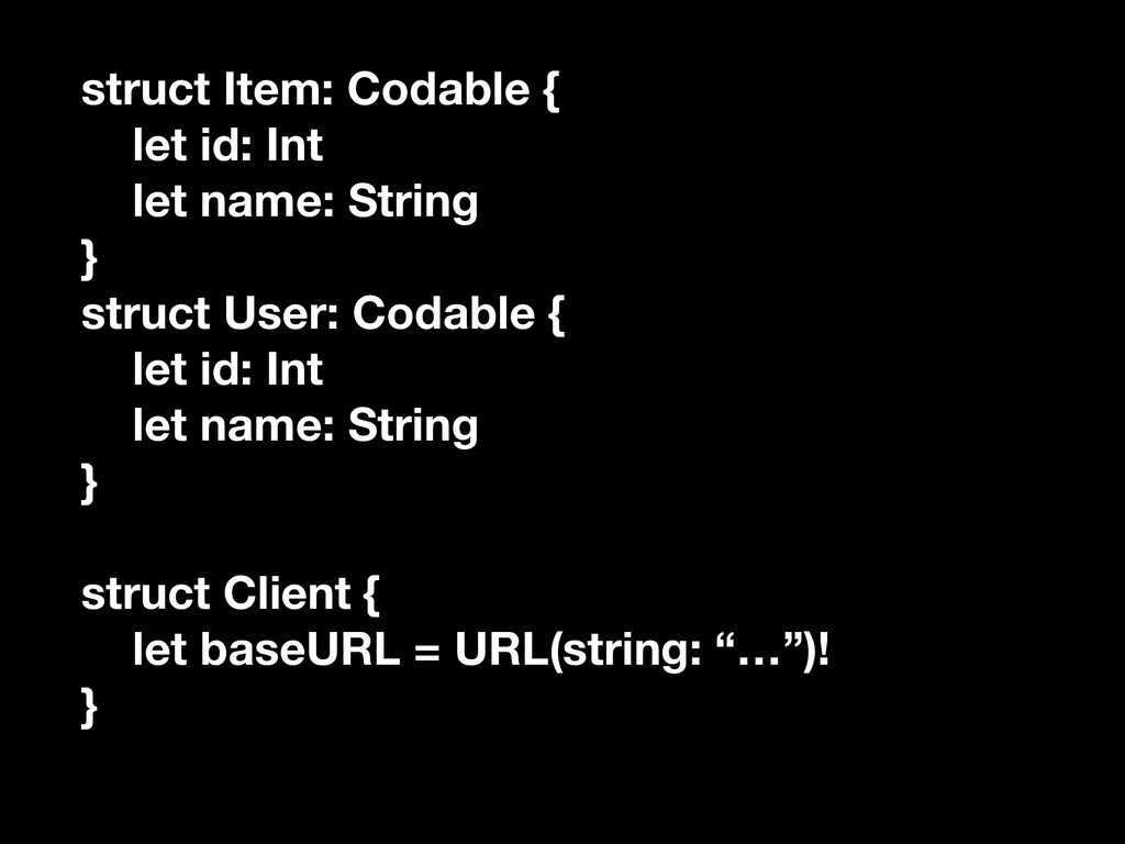 struct Item: Codable { let id: Int let name: St...