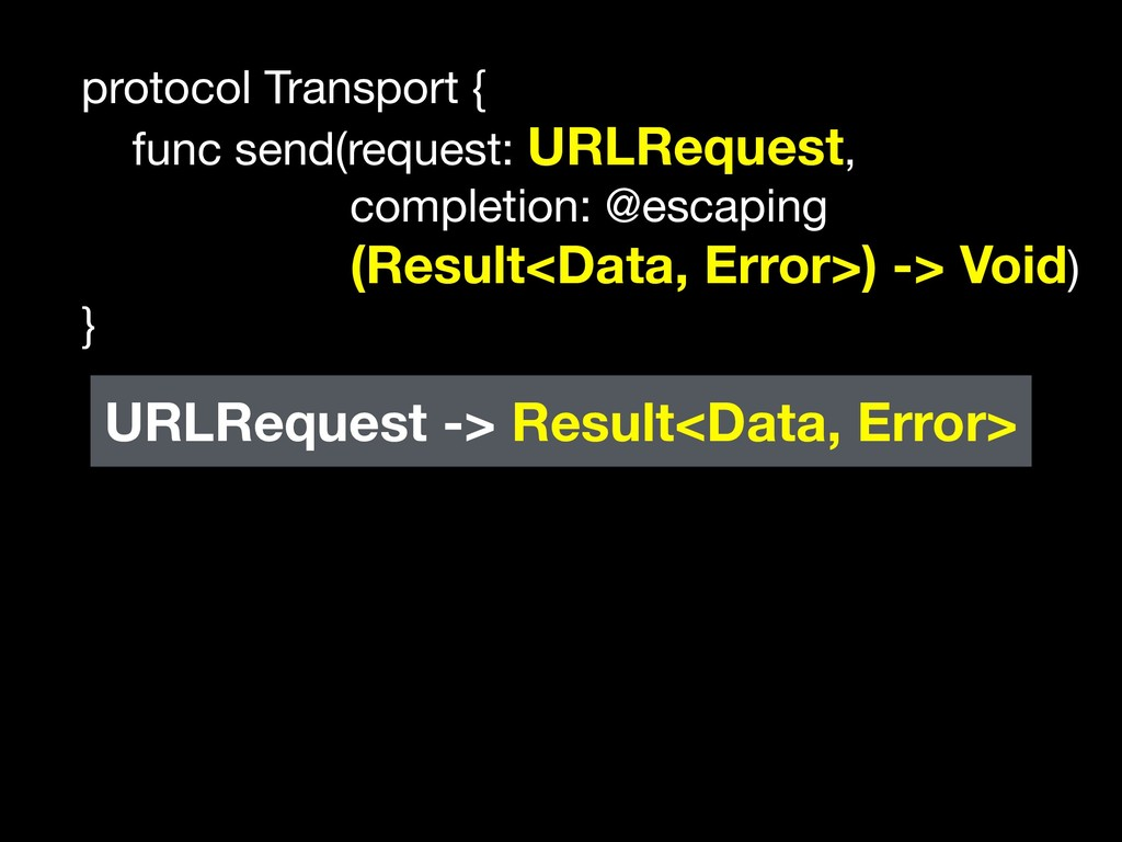 protocol Transport {  func send(request: URLReq...