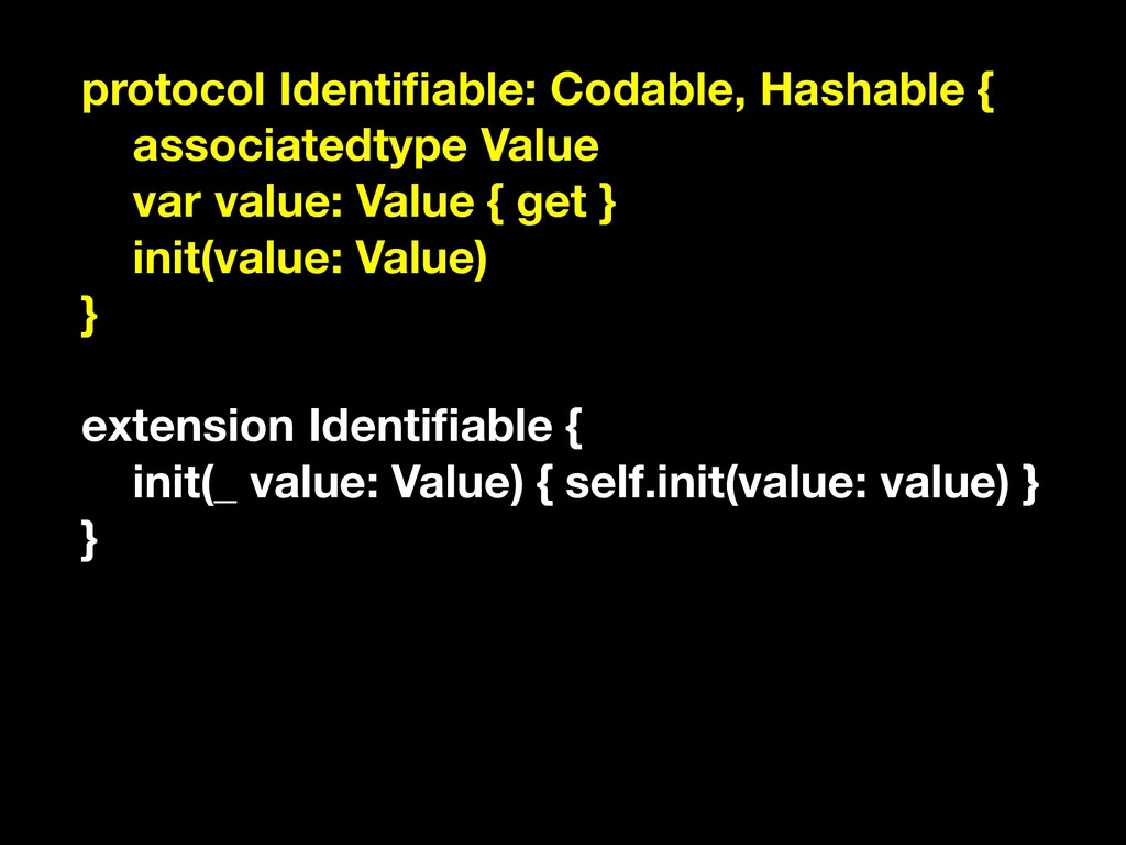 protocol Identifiable: Codable, Hashable { assoc...