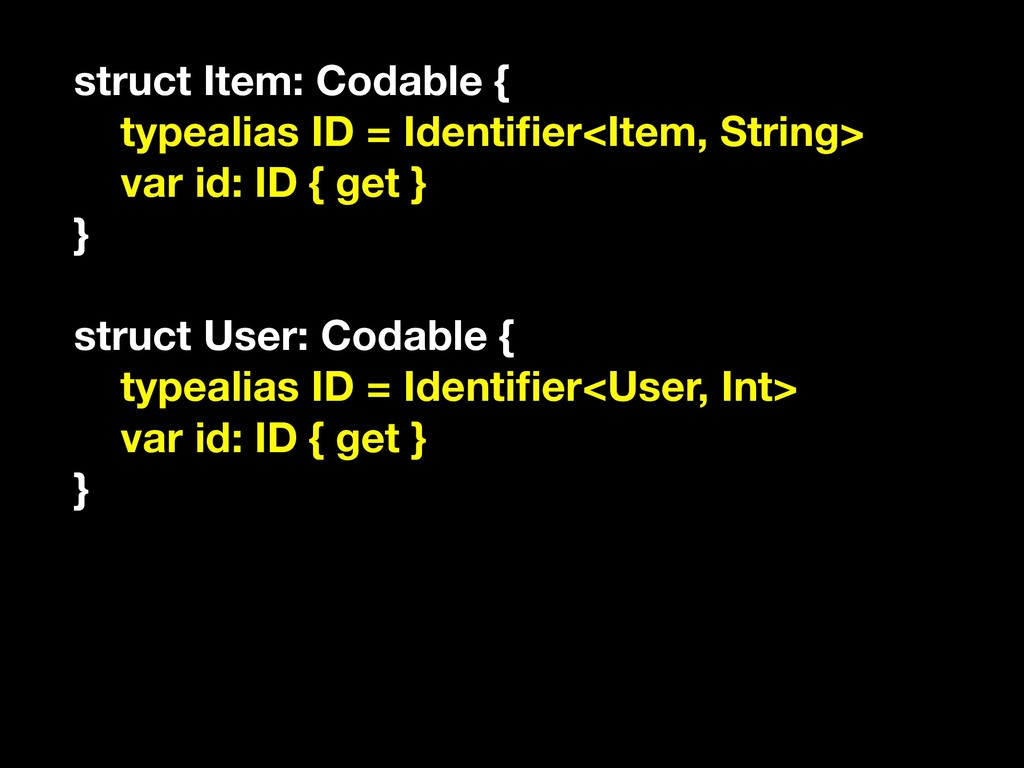 struct Item: Codable { typealias ID = Identifier...