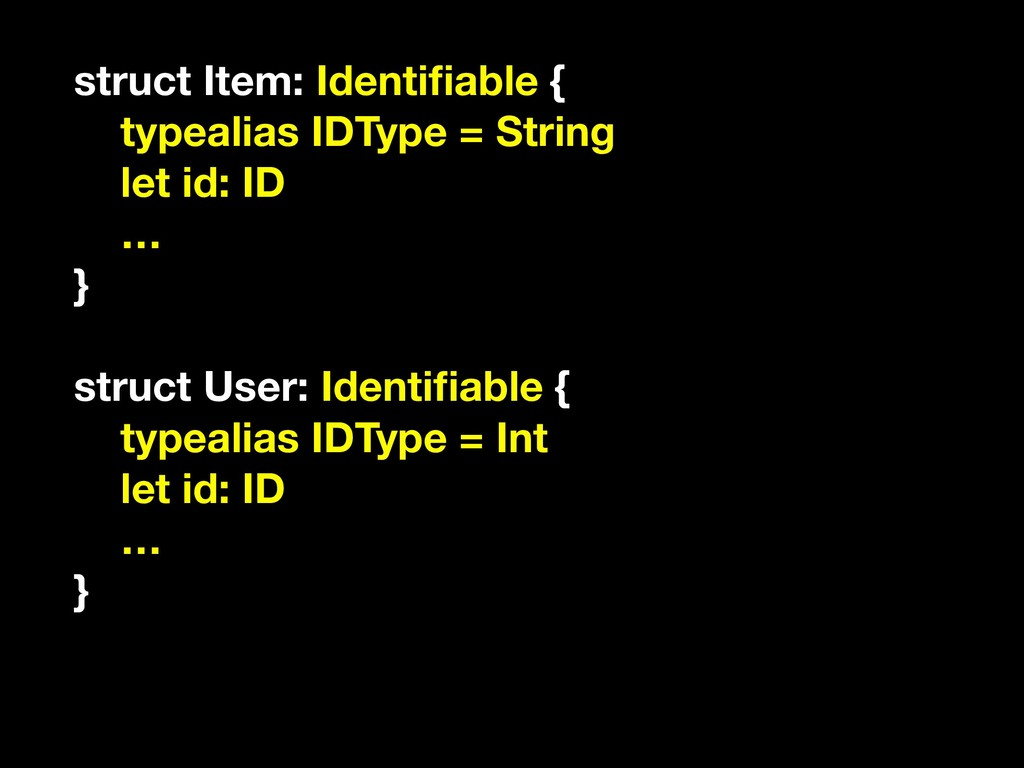struct Item: Identifiable { typealias IDType = S...