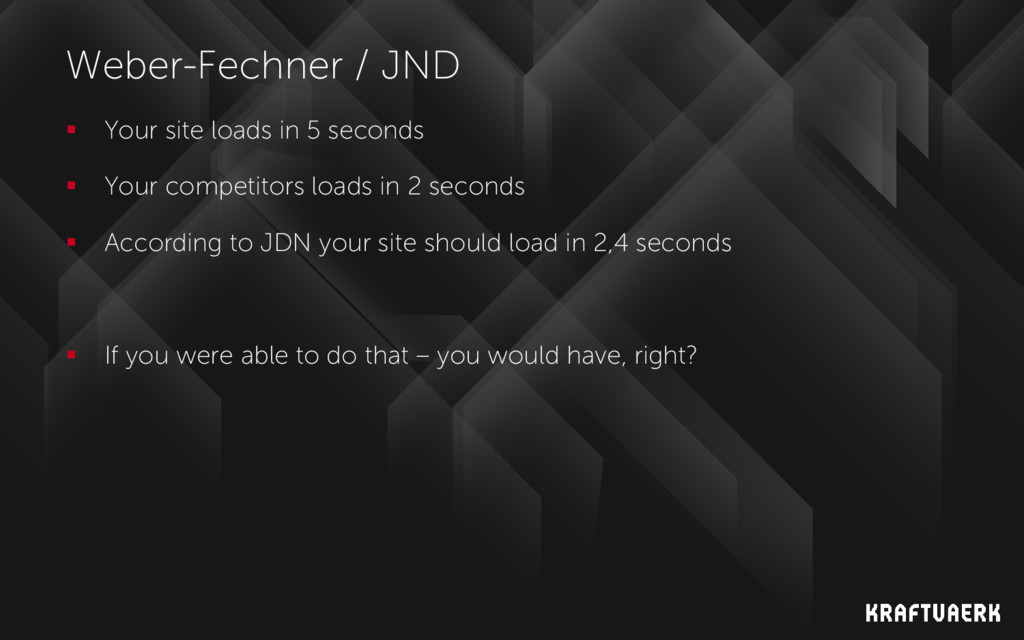 Weber-Fechner / JND  Your site loads in 5 seco...