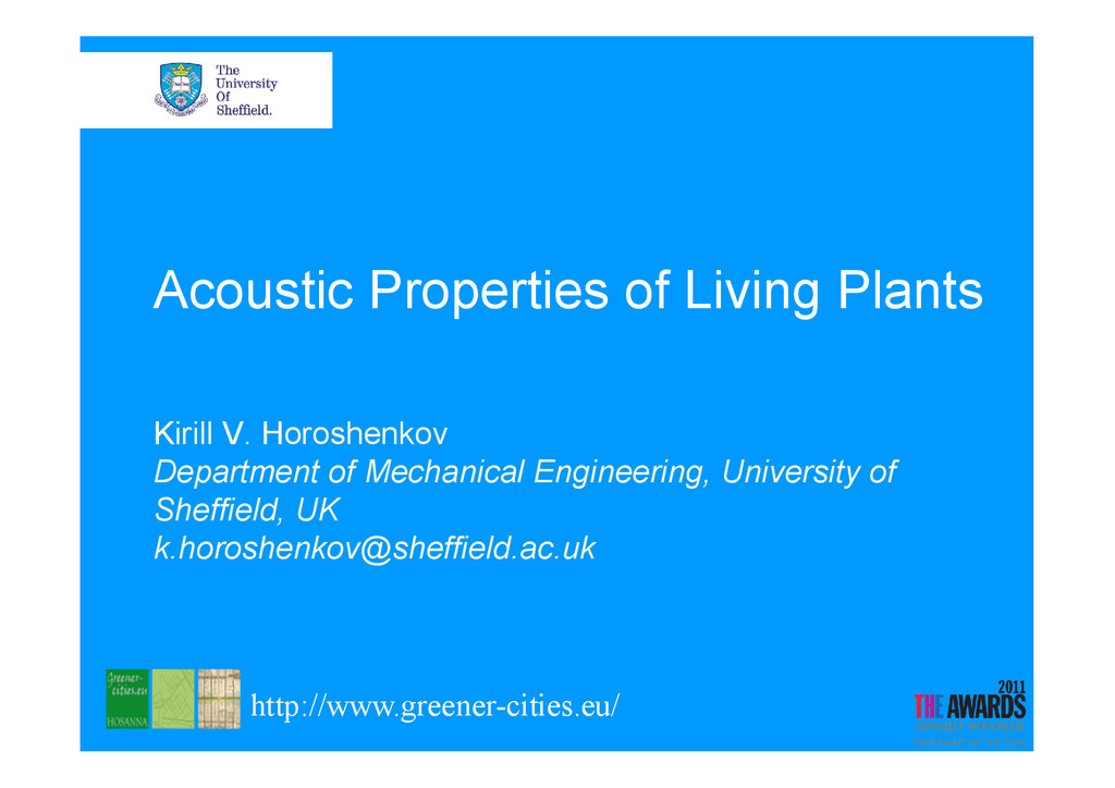 Acoustic Properties of Living Plants Kirill V. ...