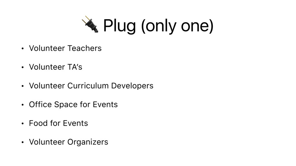Plug (only one) • Volunteer Teachers • Volunte...