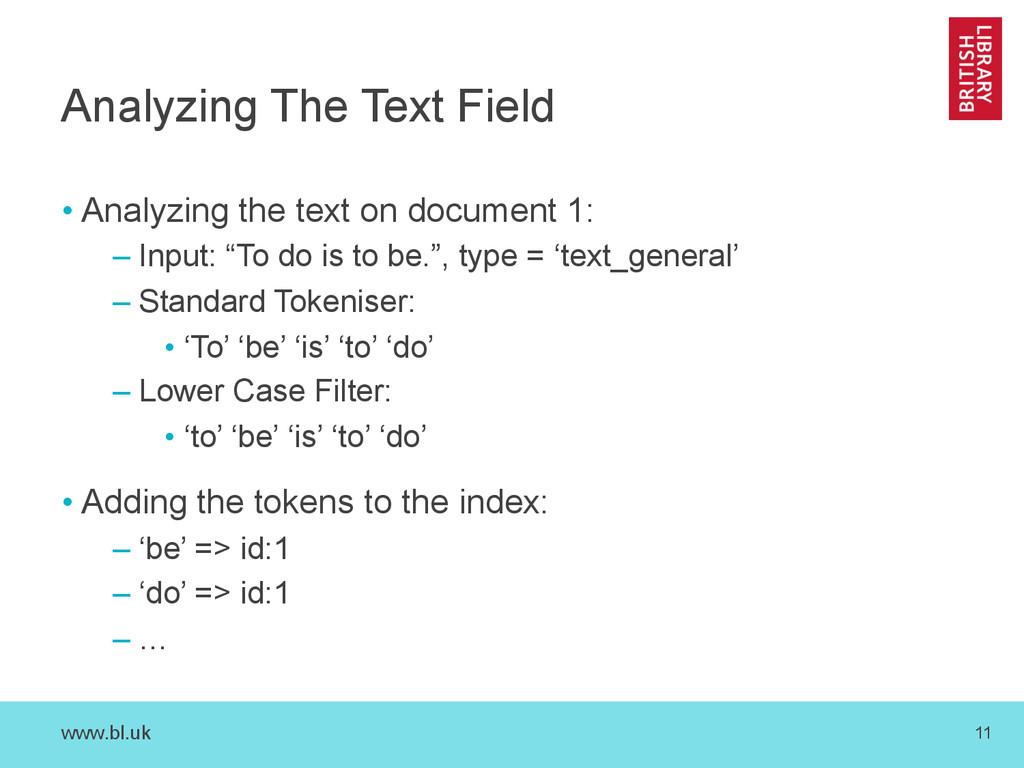 www.bl.uk 11 Analyzing The Text Field •Analyzi...