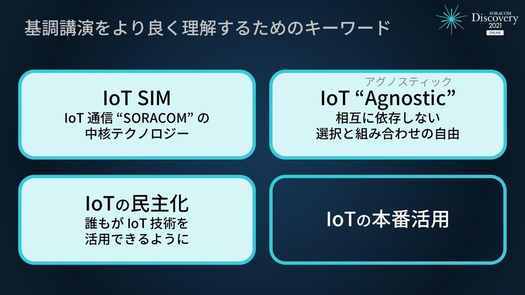 "IoT SIM IoT 通信 ""SORACOM"" の 中核テクノロジー IoT ""Agnost..."