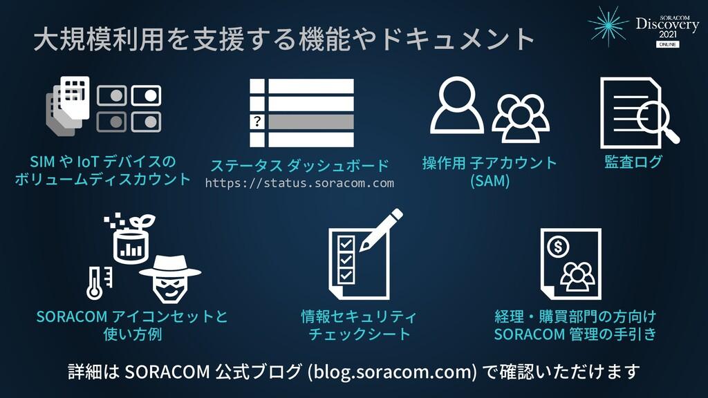 大規模利用を支援する機能やドキュメント SIM や IoT デバイスの ボリュームディスカウン...