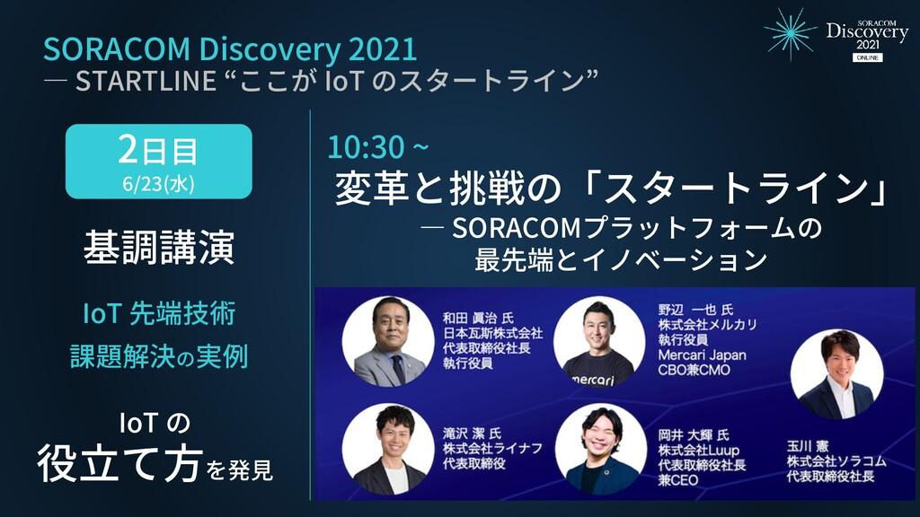 2日目 6/23(水) 基調講演 IoT 先端技術 課題解決の実例 IoT の 役立て方を発見...