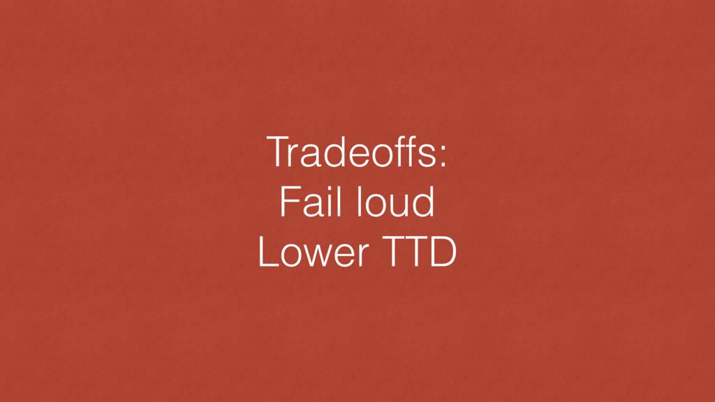 Tradeoffs: Fail loud Lower TTD