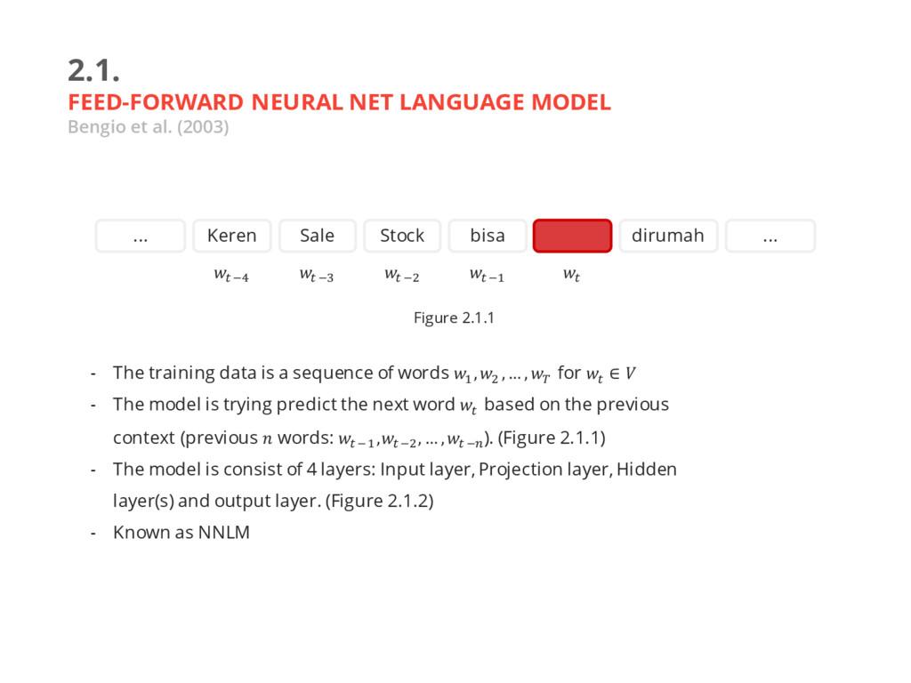 2.1. FEED-FORWARD NEURAL NET LANGUAGE MODEL Ben...