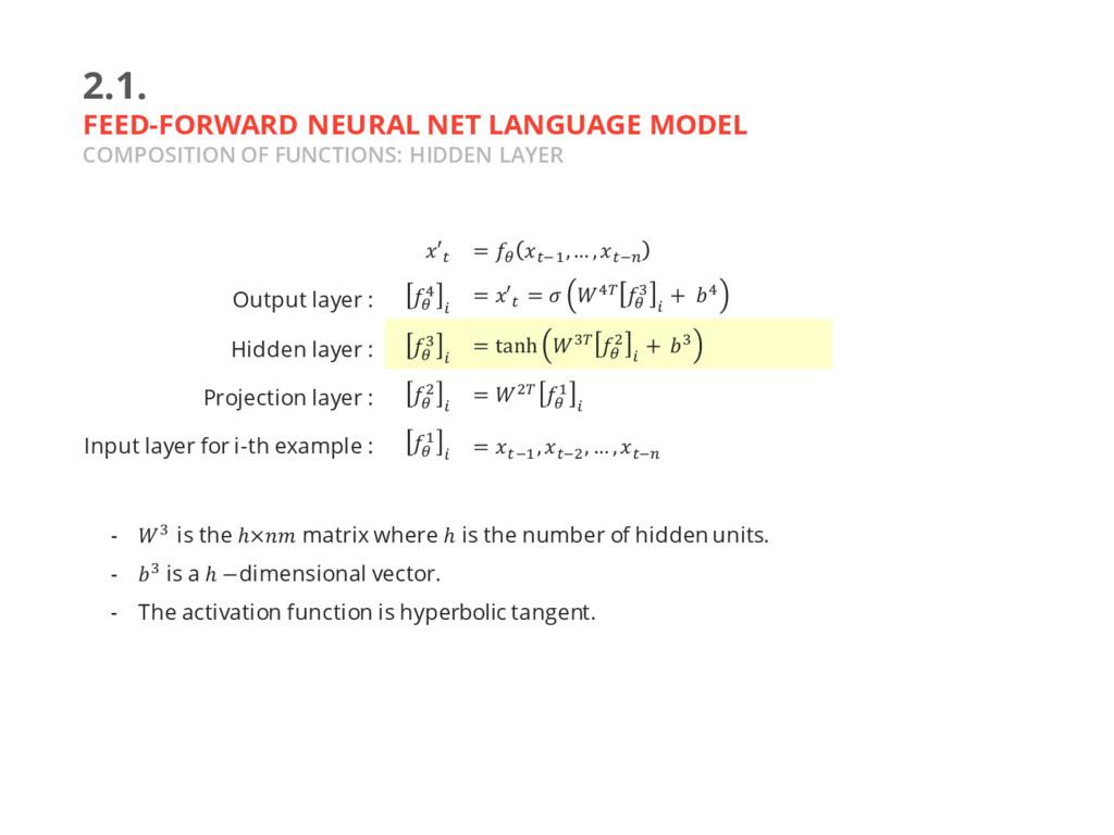 2.1. FEED-FORWARD NEURAL NET LANGUAGE MODEL COM...