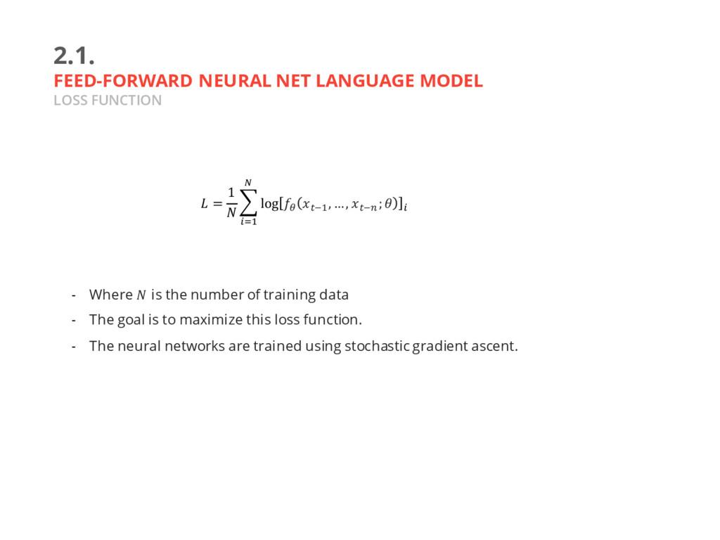 2.1. FEED-FORWARD NEURAL NET LANGUAGE MODEL LOS...