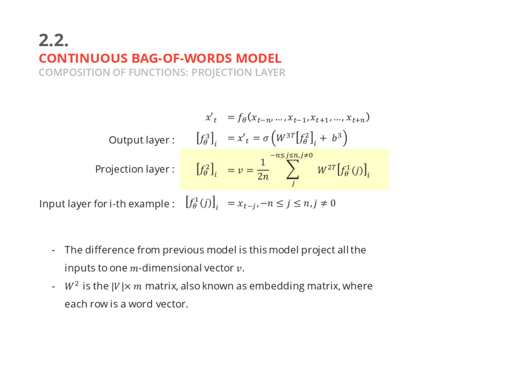 2.2. CONTINUOUS BAG-OF-WORDS MODEL COMPOSITION ...