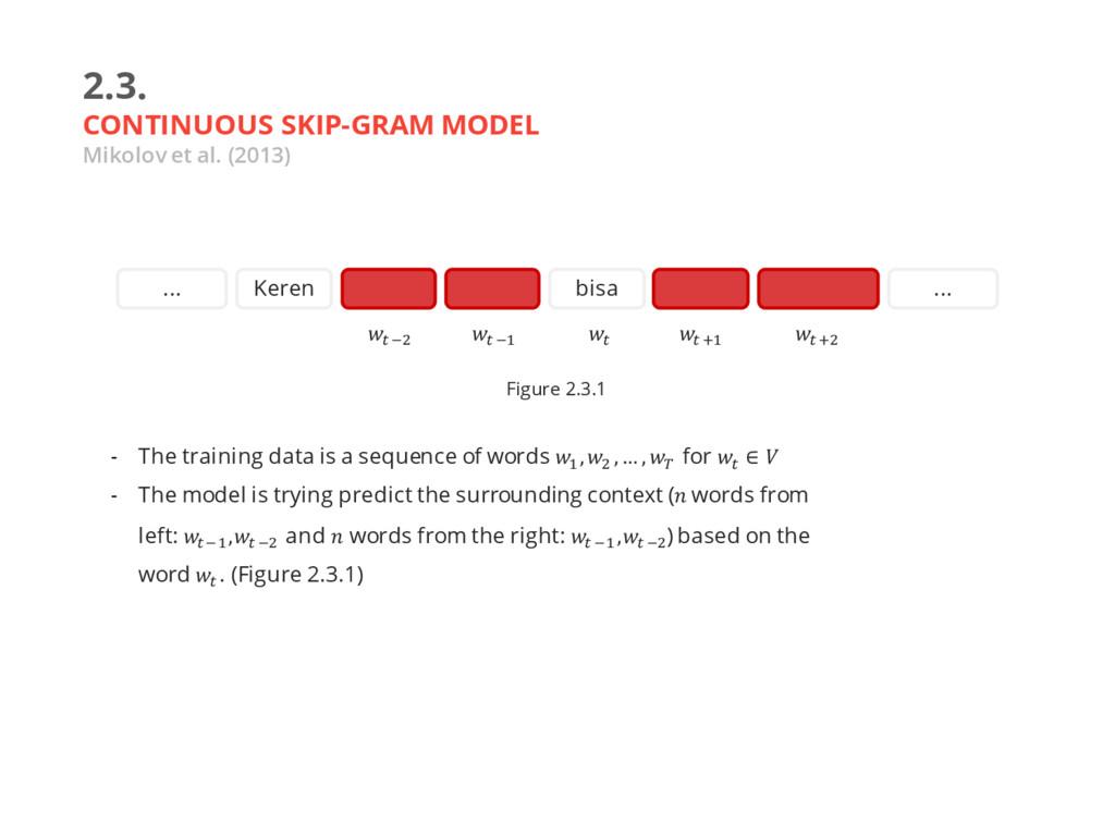 2.3. CONTINUOUS SKIP-GRAM MODEL Mikolov et al. ...