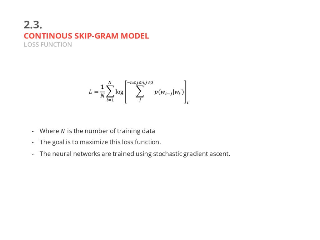 2.3. CONTINOUS SKIP-GRAM MODEL LOSS FUNCTION - ...
