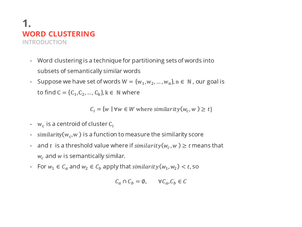 1. WORD CLUSTERING INTRODUCTION - Word clusteri...