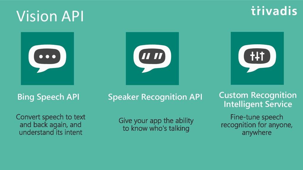Vision API Bing Speech API Speaker Recognition ...