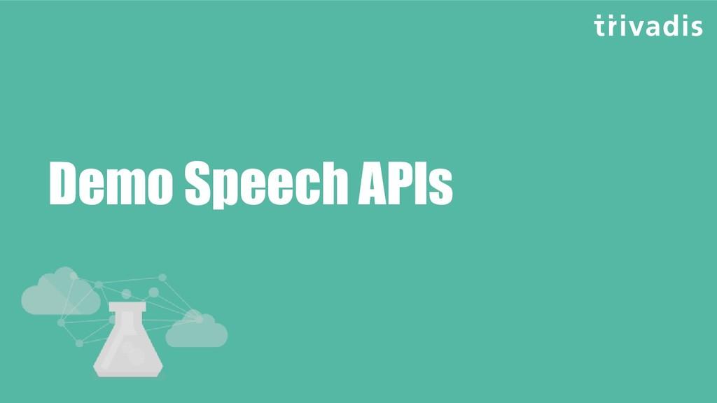Demo Speech APIs