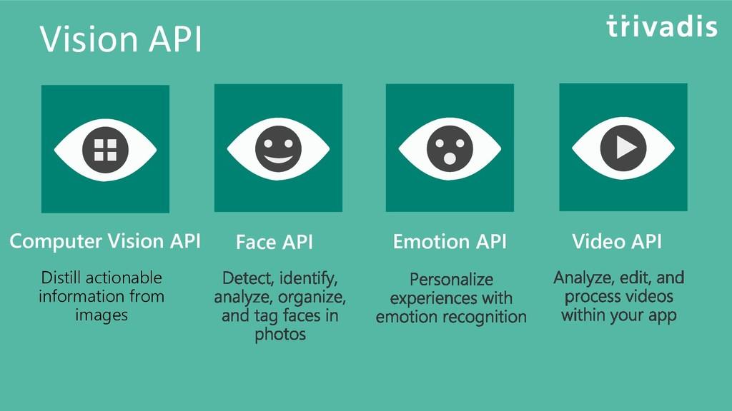 Vision API Computer Vision API Distill actionab...
