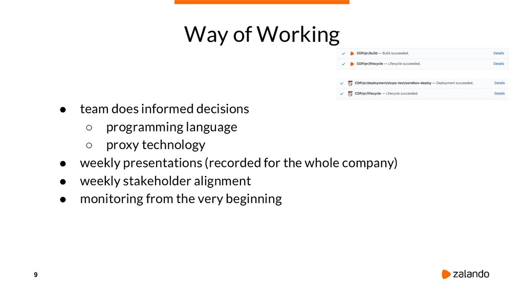 9 Way of Working ● team does informed decisions...