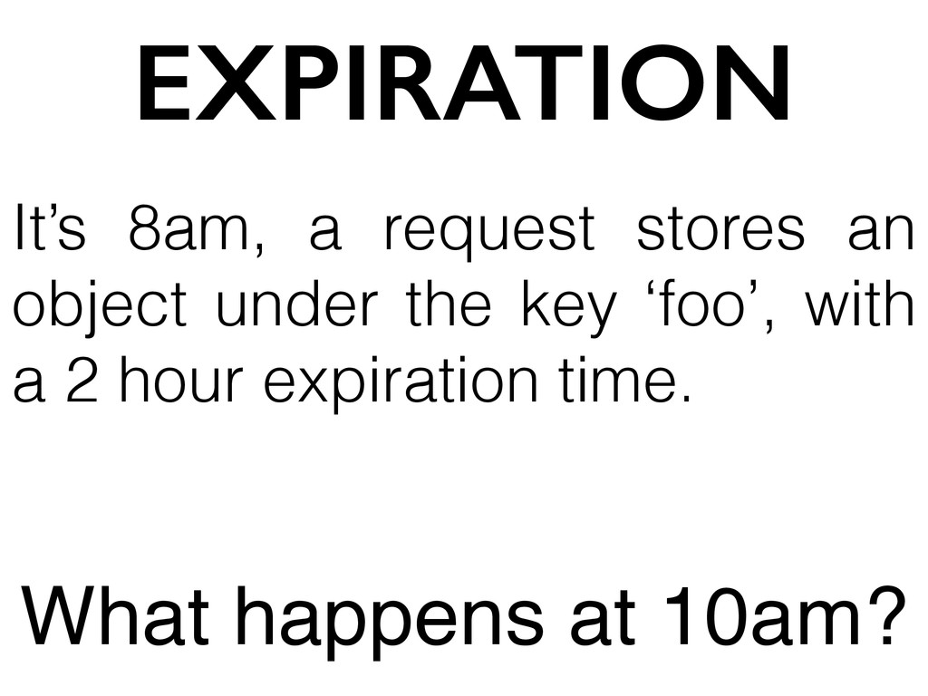 EXPIRATION It's 8am, a request stores an object...