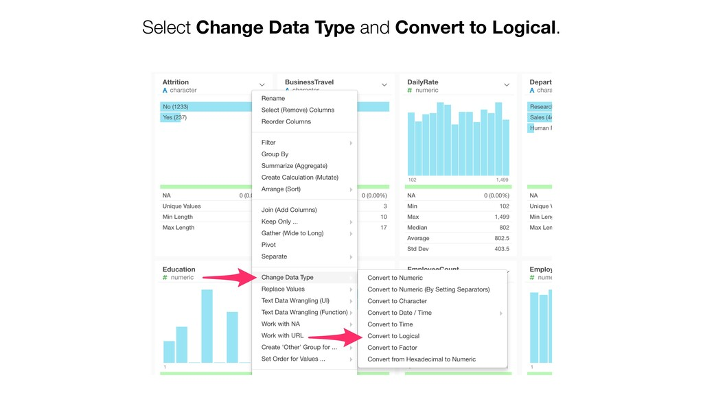 Select Change Data Type and Convert to Logical.