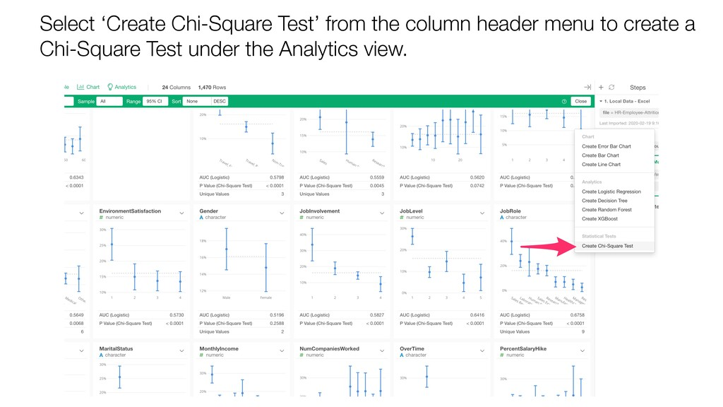 Select 'Create Chi-Square Test' from the column...