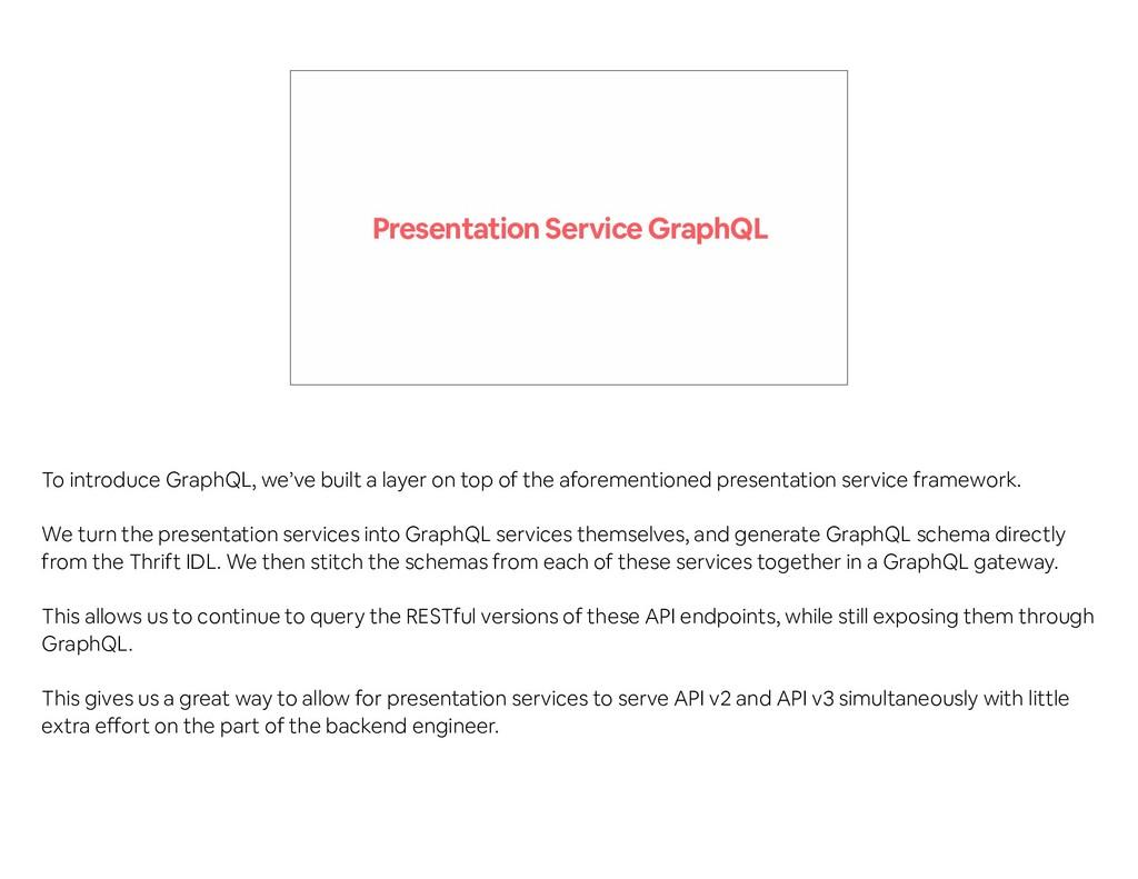 Presentation Service GraphQL To introduce Graph...