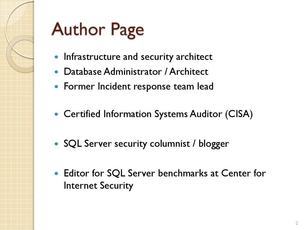 Author Page 2  Infrastructure and security arc...