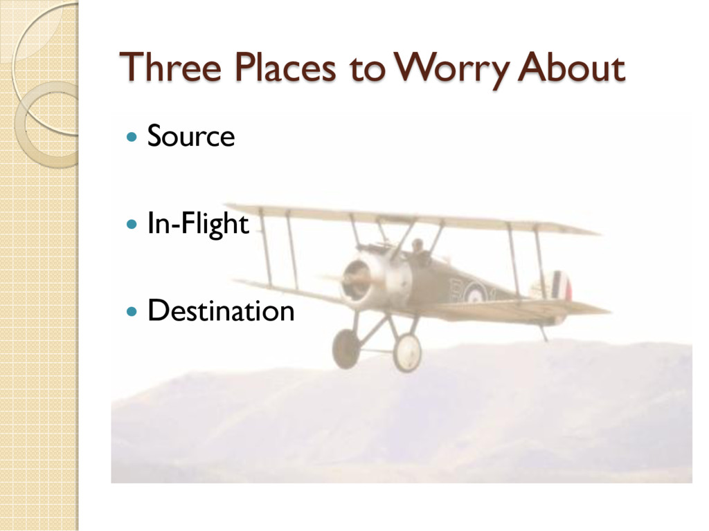 Three Places to Worry About  Source  In-Fligh...