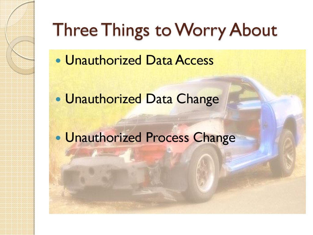 Three Things to Worry About  Unauthorized Data...