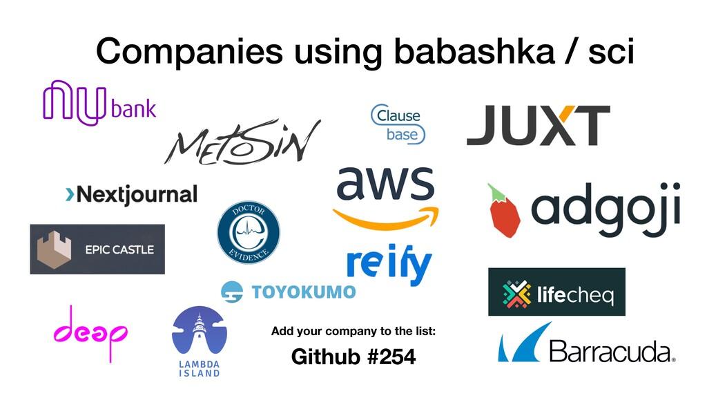 Companies using babashka / sci Github #254 Add ...