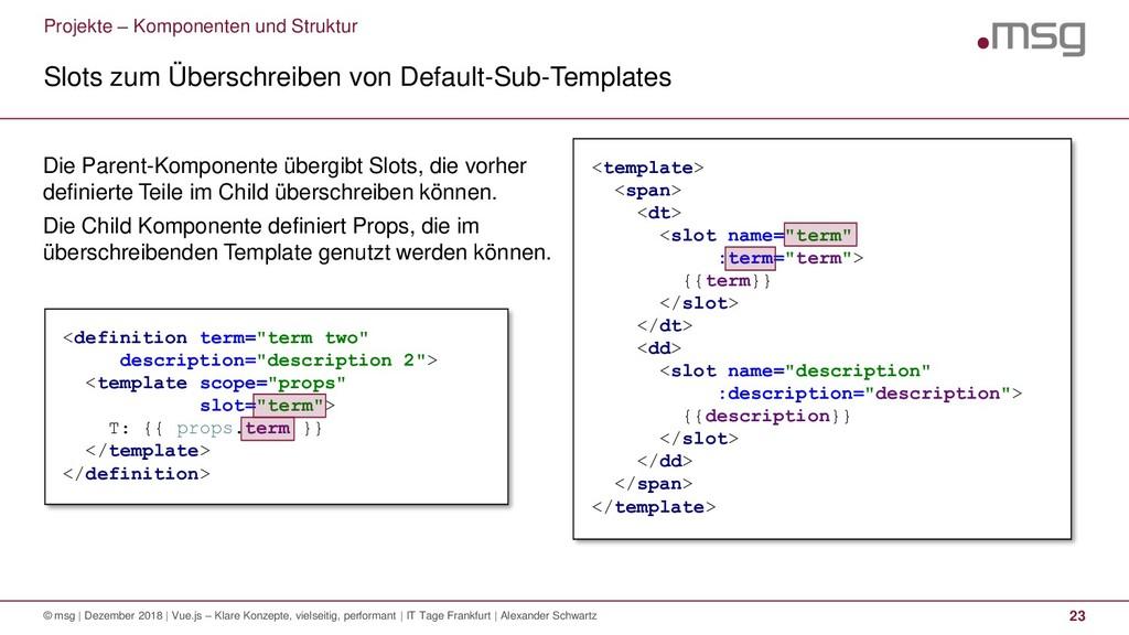 Projekte – Komponenten und Struktur Slots zum Ü...