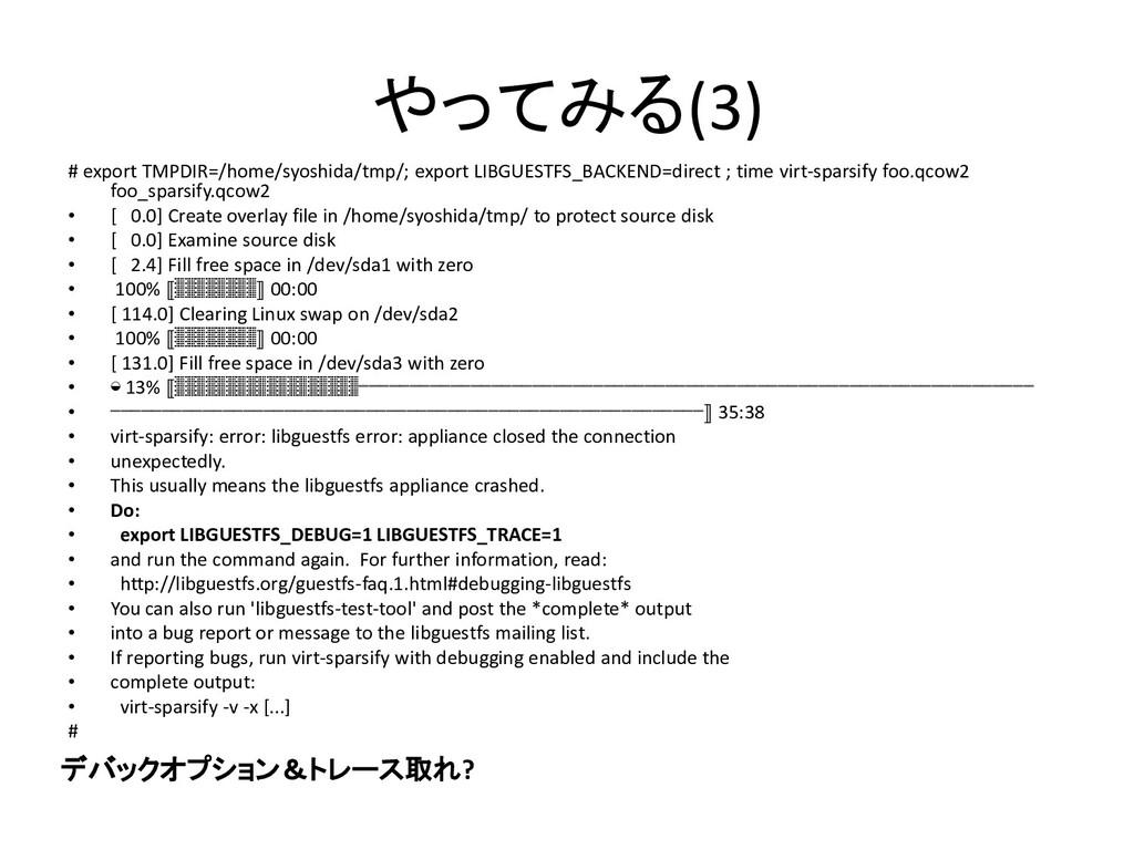 やってみる(3) # export TMPDIR=/home/syoshida/tmp/; e...