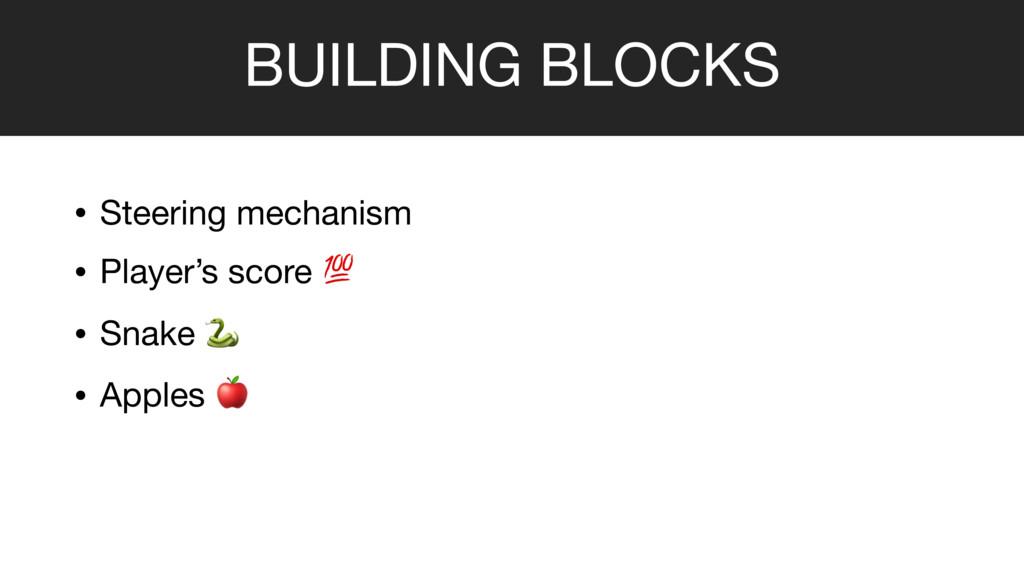BUILDING BLOCKS • Steering mechanism   • Player...