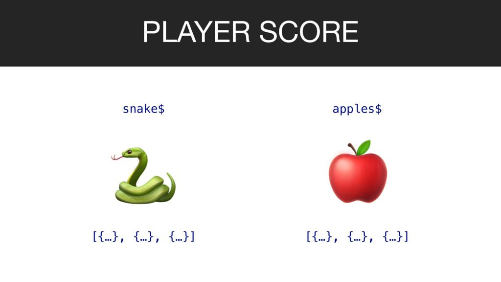 PLAYER SCORE   snake$ apples$ [{…}, {…}, {…}] [...