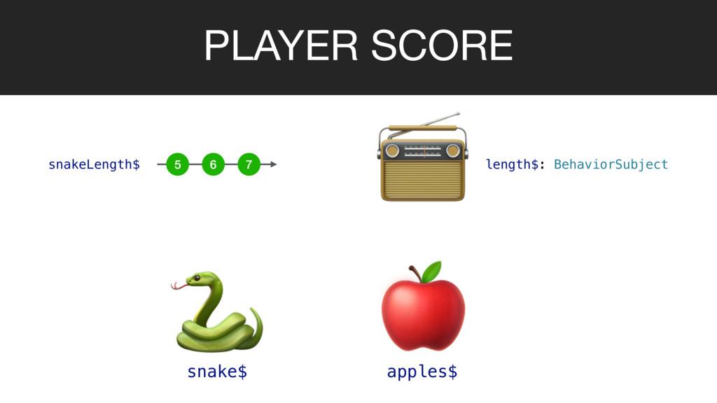 PLAYER SCORE   snake$ apples$  length$: Behavio...
