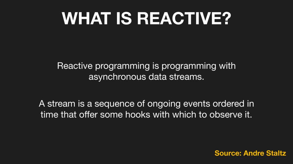 WHAT IS REACTIVE? Reactive programming is progr...
