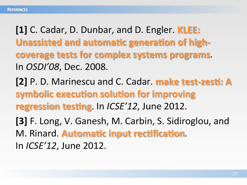 [1] C. Cadar, D. Dunbar, and ...