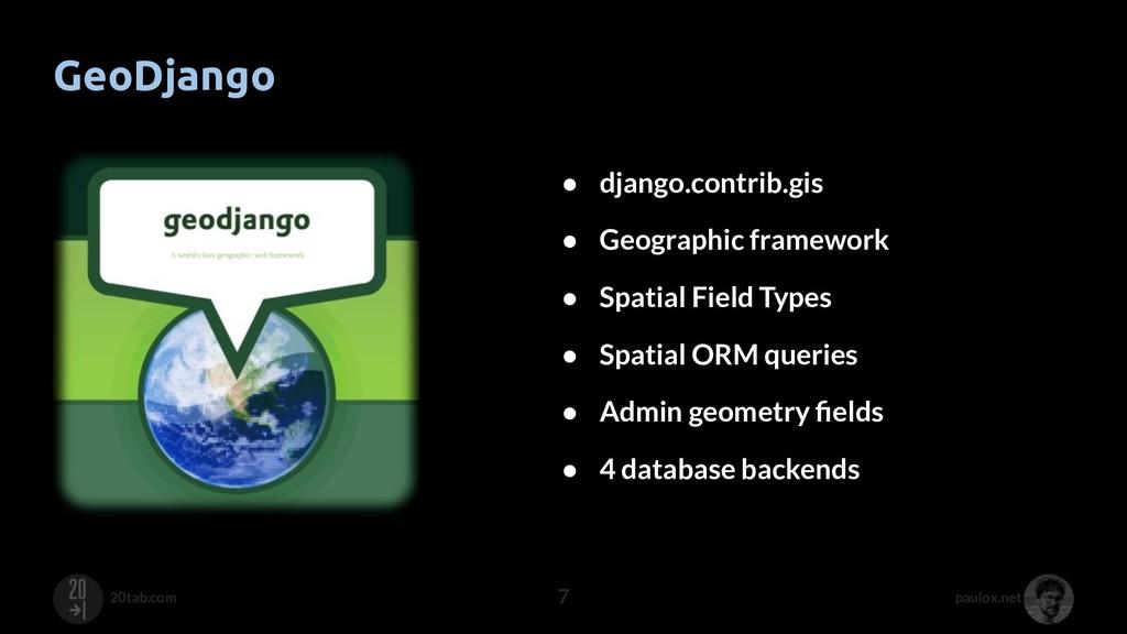 paulox.net 20tab.com GeoDjango 7 ● django.contr...