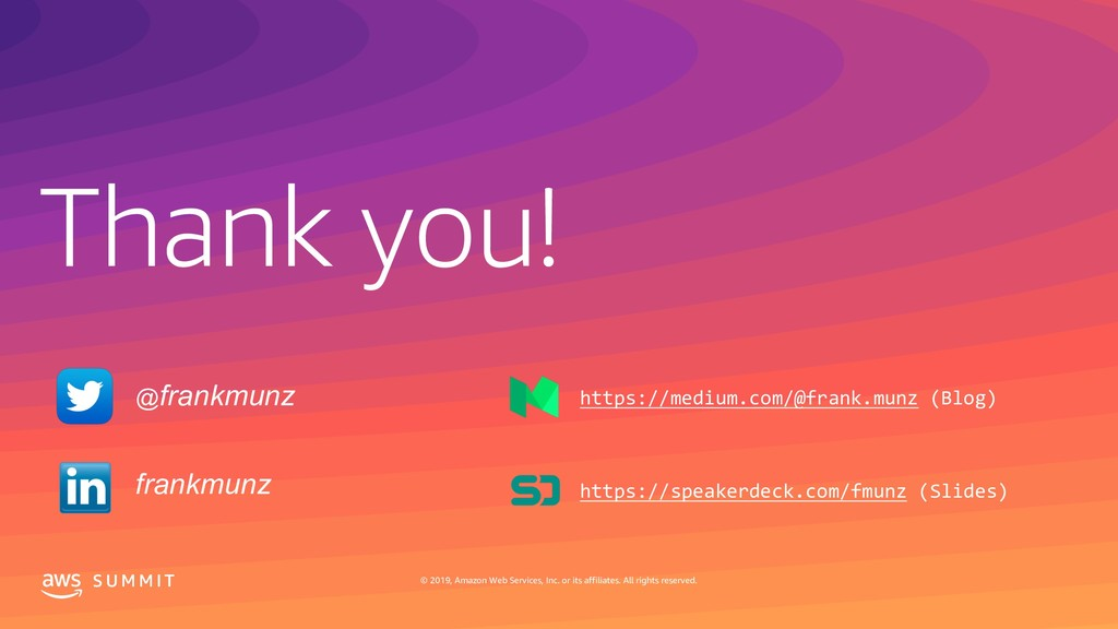 Thank you! S U M M I T © 2019, Amazon Web Servi...