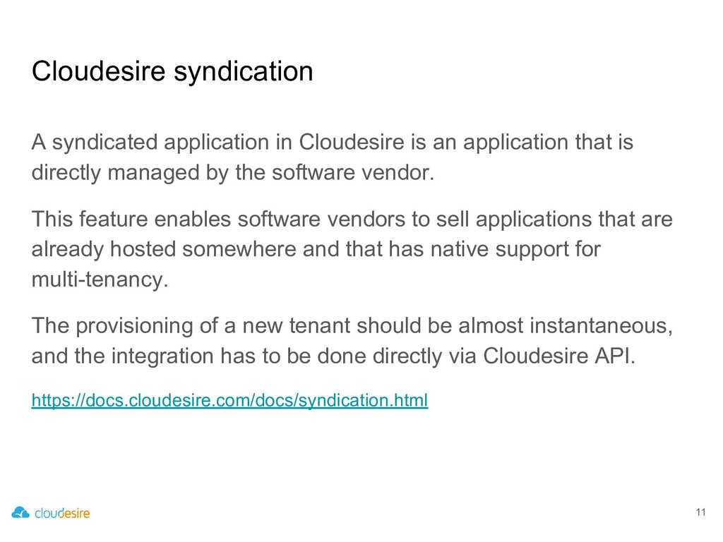 Cloudesire syndication A syndicated application...