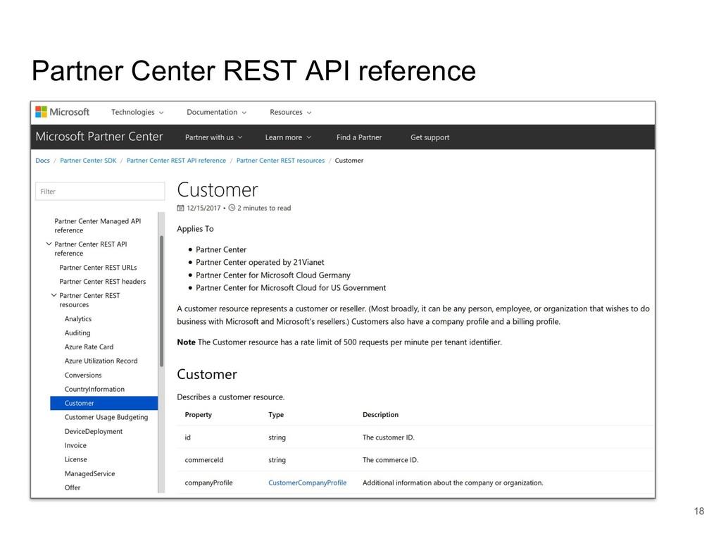 Partner Center REST API reference 18