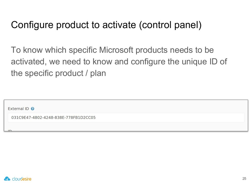 Configure product to activate (control panel) T...