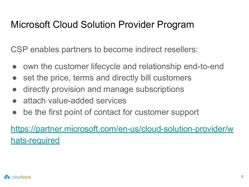 Microsoft Cloud Solution Provider Program CSP e...