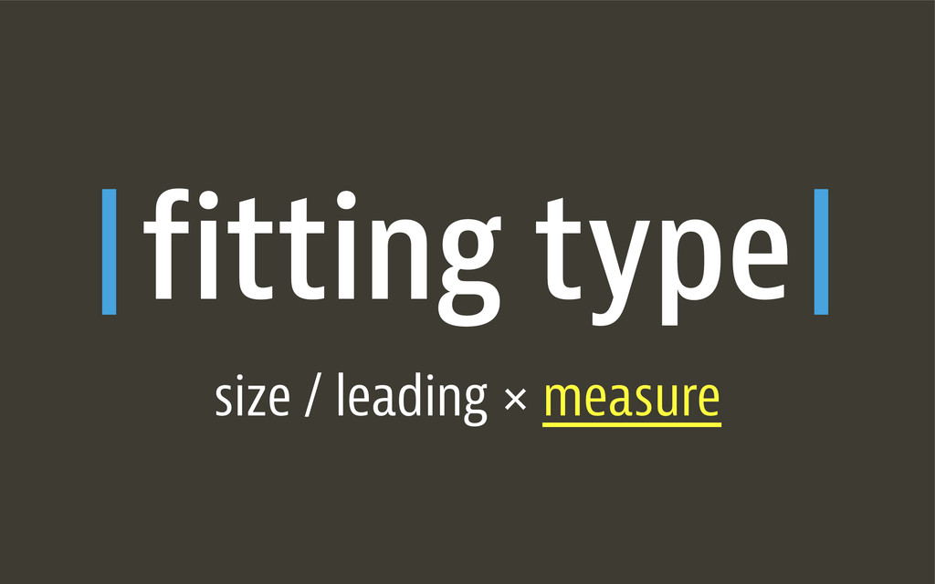 fitting type size / leading × measure