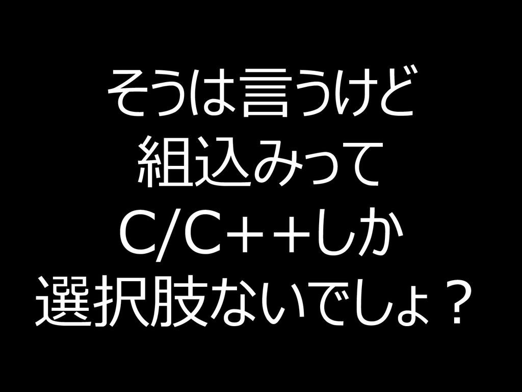 そうは言うけど 組込みって C/C++しか 選択肢ないでしょ? 13