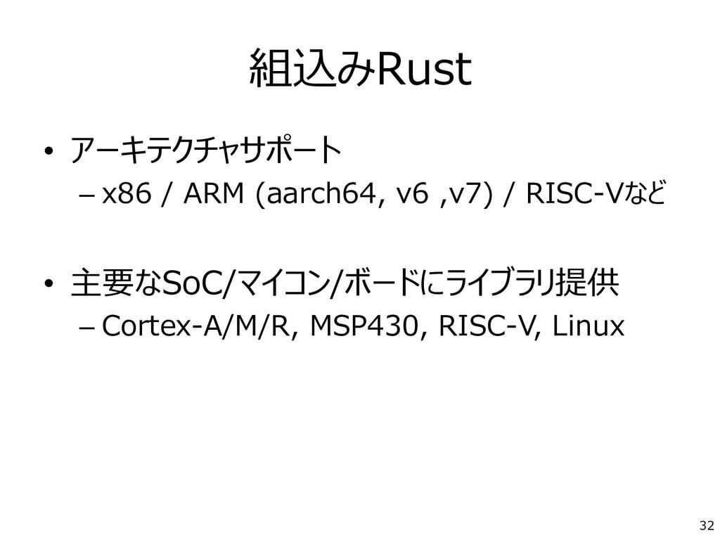 組込みRust • アーキテクチャサポート – x86 / ARM (aarch64, v6 ...