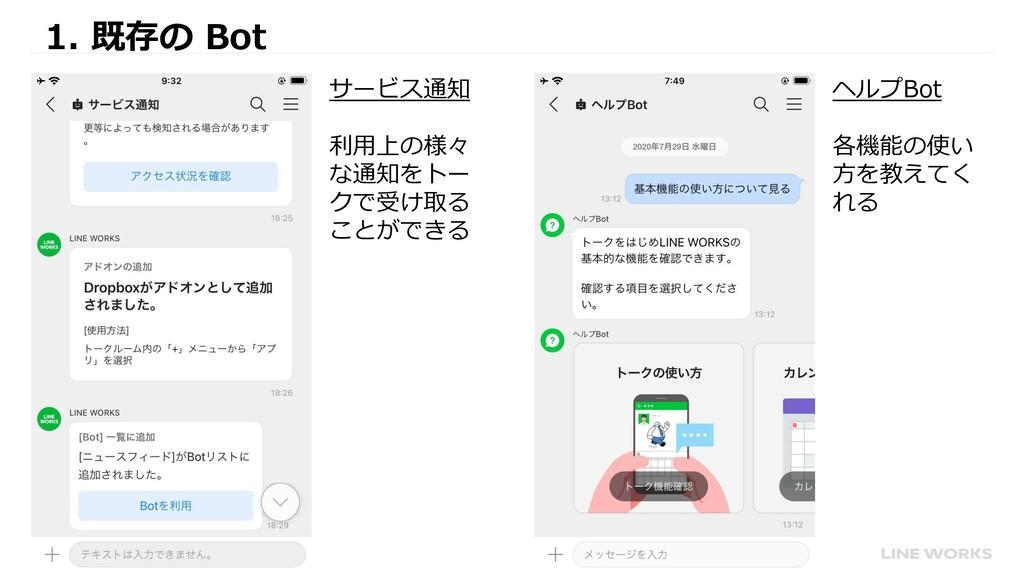 1. 既存の Bot ヘルプBot 各機能の使い 方を教えてく れる サービス通知 利用上の様...
